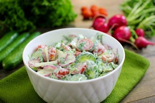 Creamy Spring Garden Salad – Весенний Овощной Салат - -   We ate variations of this salad all summer long, pretty much every day. For me, it symbolized the arrival of spring and was always such a happy occasion.   http://www.olgasflavorfactory.com/ontheside/salads/creamy-spring-garden-salad/