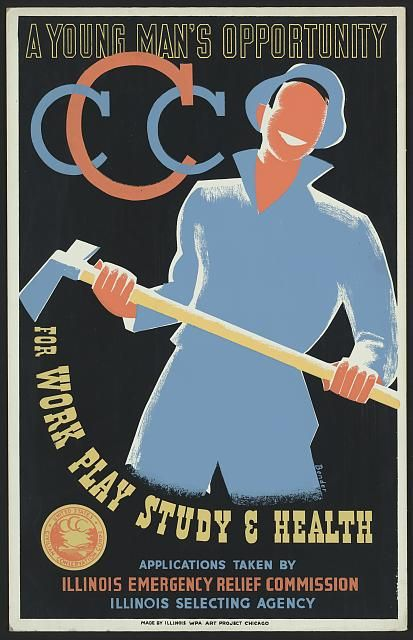 A young man's opportunity for work, play, study & health - Poster promoting the U.S. Civilian Conservation Corps showing a young man with pickaxe.