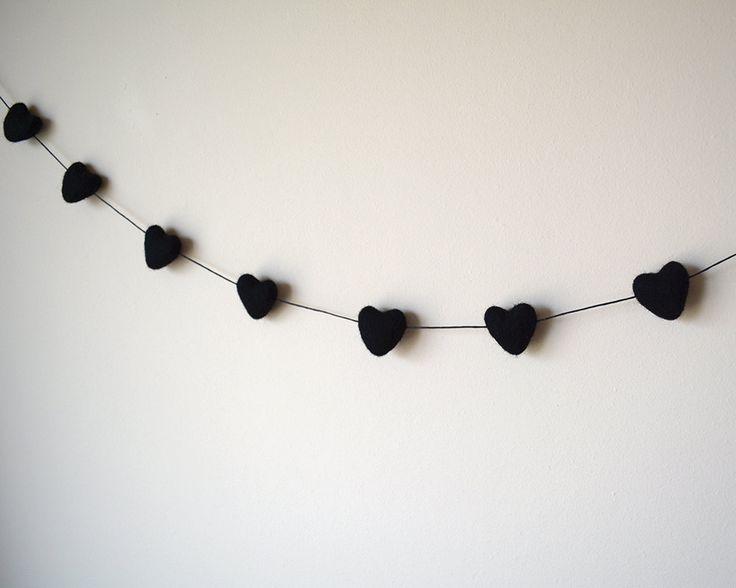 Black Heart Garland, Felted Wool Heart Bunting, Minimalist Decor, Black Photo Prop, Monotone Nursery Decor, Anti Valentine Gift, Goth Love by AzaleaCottageCrafts on Etsy https://www.etsy.com/listing/224118395/black-heart-garland-felted-wool-heart