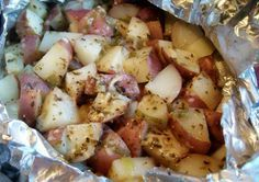 Grilled Parmesan Potatoes. mix 1 chopped small red potato, 1/4 c chopped green onion, 2 T oil, 1 T parmesan grated, 1 t oregano, 1/2 t garlic salt, 1/4 t pepper, wrap in foil, grill 20-30 minutes