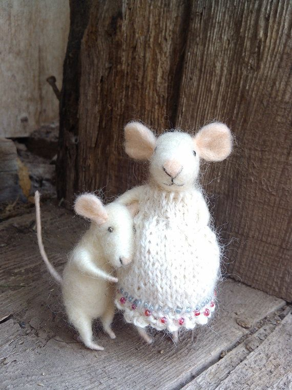 The Mother and Son  needle felted ornament animal by feltingdreams,