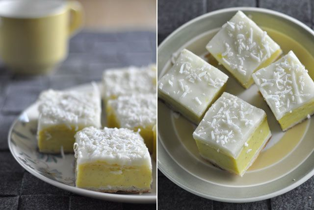Geoff's mum's custard squares « Cooking Blog. These are true Kiwi foodie treats.  A thick layer of custard between layers of pastry, topped with vanilla icing.  Mmmm!