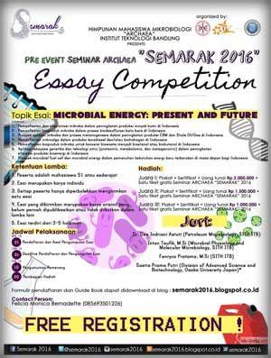#Lomba #MenulisEssay #EssayCompetition #Semarak2016 #Mikrobiologi #ITB #Bandung Essay Competition SEMARAK 2016 Berhadiah Jutaan Rupiah  DEADLINE: 31 Januari 2016  http://infosayembara.com/info-lomba.php?judul=essay-competition-semarak-2016-berhadiah-jutaan-rupiah