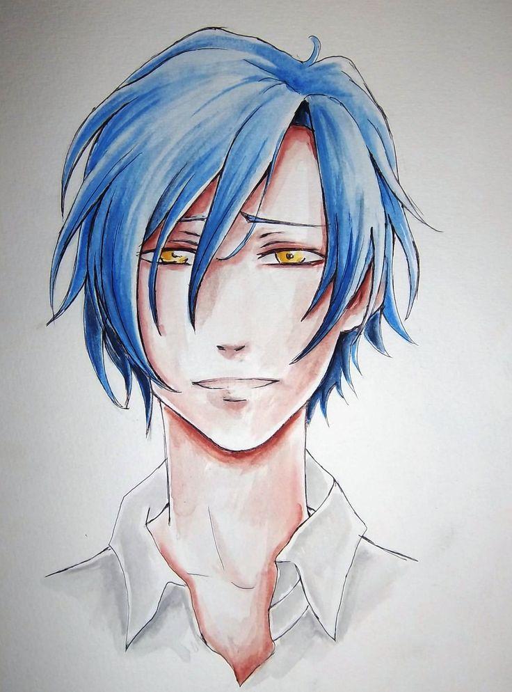 manga/anime boy; watercolors