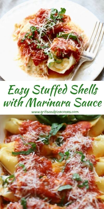 Easy Stuffed Shells with Marinara Sauce is a delicious make-ahead pasta entrée with not one, but three kinds of cheeses; ricotta, mozzarella,and parmesan, and the most wonderful homemade marinara sauce ever! #comfortfood, #stuffedshells, #pastarecipes, #stuffedshellsrecipe, #ricottastuffedshells, #easystuffedshells via @gritspinecones