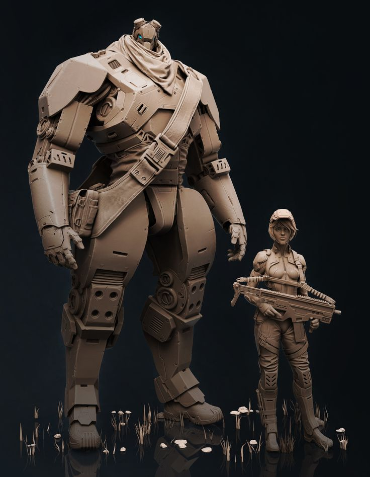ArtStation - Soldier and robot, Guillaume Tiberghien