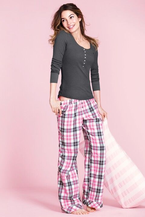 Comfy Victoria's Secret pajamas with pink plaid pants. #style #fashion
