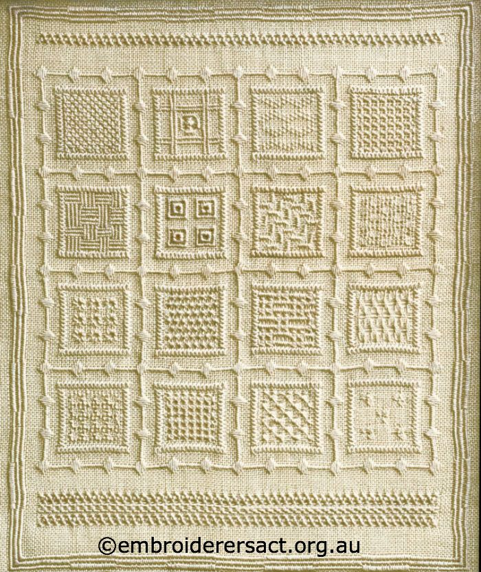 Pulled thread sampler by marjorie gilby embroidery