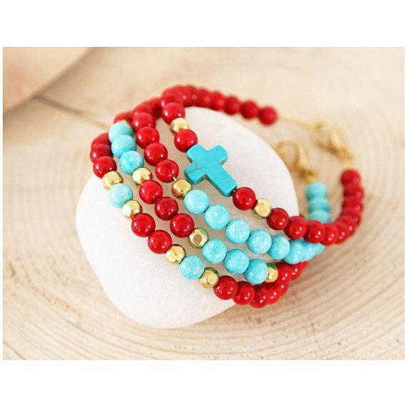 greek jewelry, semi precious stones jewelry, gemstone jewelry, semi precious bracelet, turquoise gemstone, red gemstone, fossil bracelet