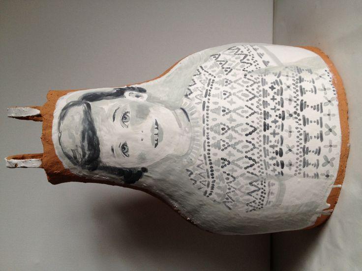 Knitting Girl  clay,underglaze,porcelain slip 45cmx32cmx26cm Www.cassiethring.com