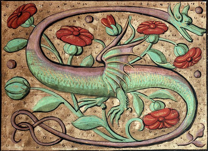 "discardingimages: ""dragon initial Pierre de Saint-Nectaire, Orationes, France ca. 1510 Clermont-Ferrand, Bibliothèque municipale, ms. 1510, fol. 13r """