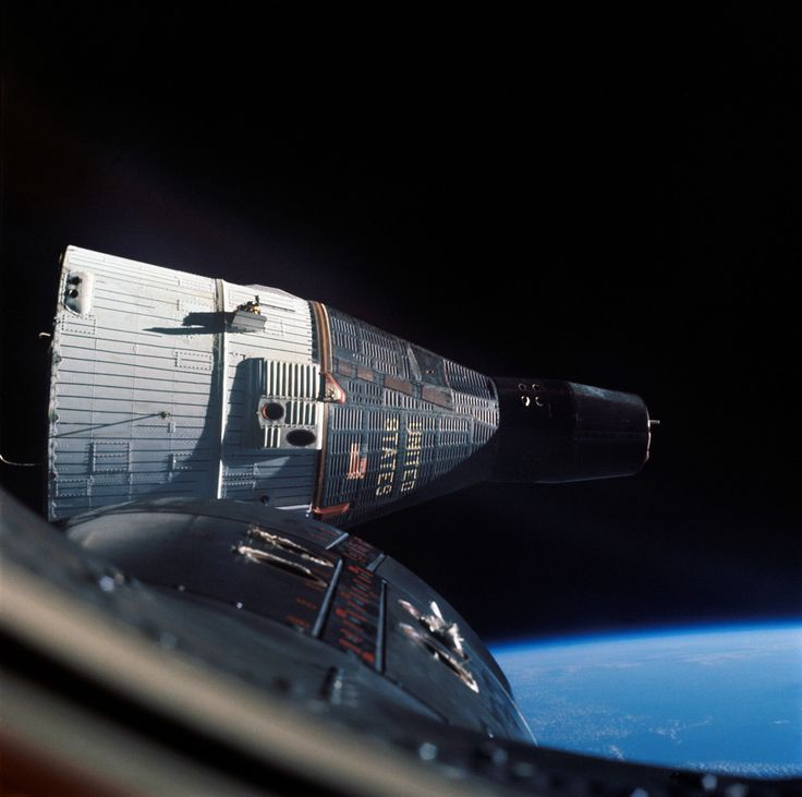 spacewatching: This photograph of the Gemini 7 spacecraft was taken from Gemini 6 during rendezvous and station keeping maneuvers at an altitude of approximately 160 miles above the Earth. Gemini 6 and Gemini 7 launched on December 15, 1965 and December 4, 1965, respectively. Walter M. Schirra, Jr. and Thomas P. Stafford on Gemini 6 and Edward H. White II and Michael Collins on Gemini 7 practiced rendezvous and station keeping together for one day in orbit.