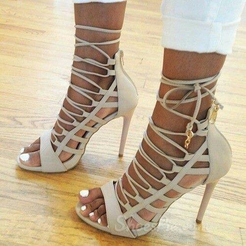 Elegant White Lace Up Ankle Wrap Stiletto Heel Sandals