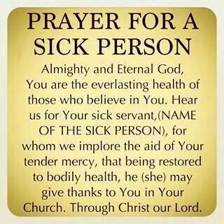 Prayer for a sick person prayer Baduday Prayers