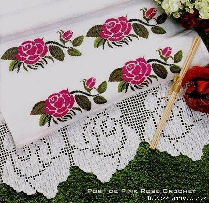 Вышиваем розы на скатерти и салфетках. Схемы (3) (430x417, 157Kb)