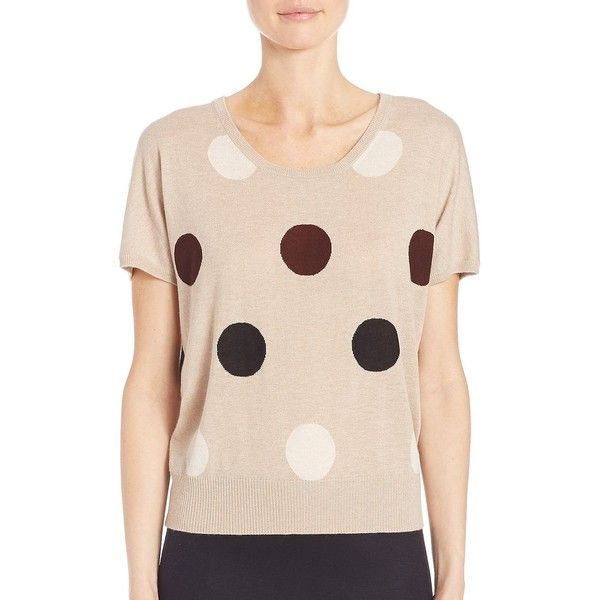 Max Mara Deruta Polka Dot Pullover (32.720 RUB) ❤ liked on Polyvore featuring tops, sweaters, apparel & accessories, beige, short sleeve tops, polka dot sweater, pullover sweater, polka dot top and sweater pullover