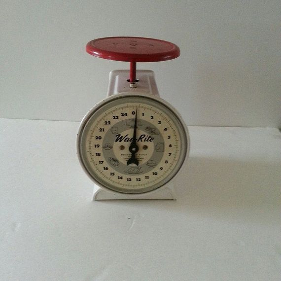 Vintage way rite household kitchen scale red tray 25 for How much is a kitchen scale