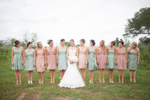 Pink and Blue Bridesmaids Dresses