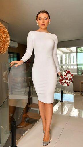 Vestido branco midi: 55 modelos para noivas (casamento civil e noivado). Na… | Vestido para noivas casamento civil, Vestido casamento civil simples, Casamento civil