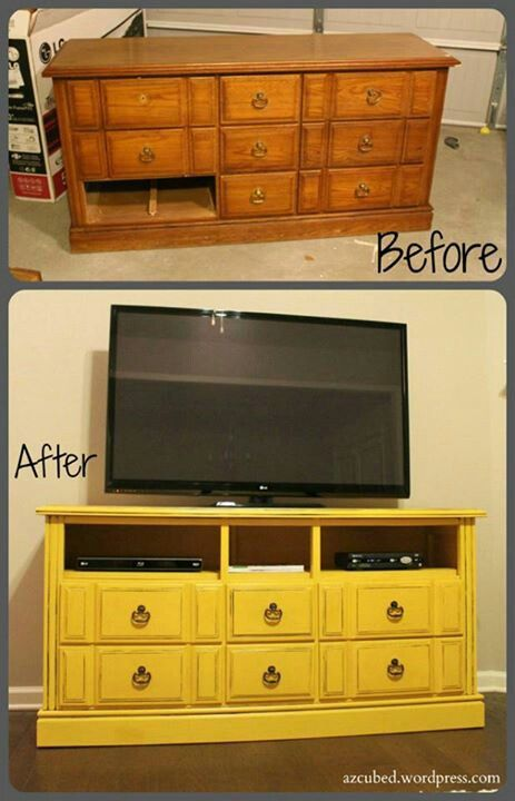 Great idea to reuse an old dresser. It would be great to attach hinges to the doors that are remaining and hide dvds/cds/games in them.