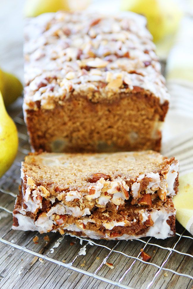 Pear Almond Streusel Bread Recipe on twopeasandtheirpod.com This easy pear quick bread has a sweet almond streusel topping and glaze. It is great for breakfast, brunch, or dessert.