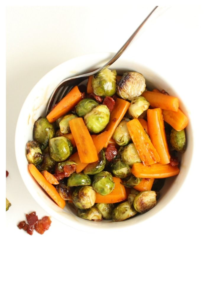 Maple Balsamic Brussels Sprouts and Carrots... The perfect side dish for Thanksgiving or Christmas dinner! Healthy and delicious .