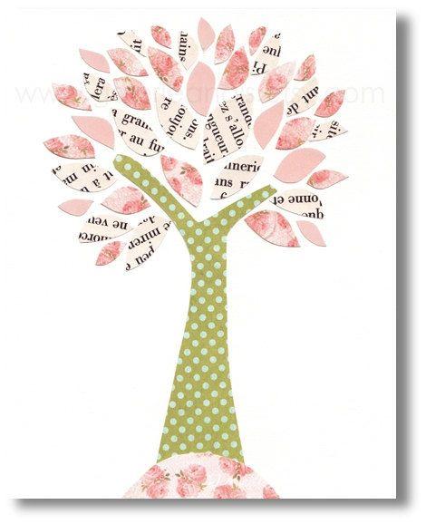 Nursery art prints, baby nursery decor, nursery wall art, personalized, kids tree, pink, green, girl room, Tree of Inspiration 8x10 print