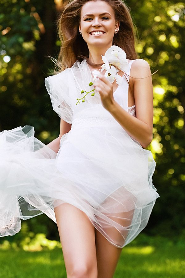 dynamic sexy running woman in white dress - Model: Ekaterina Vasilieva Style…