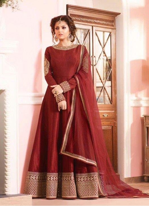 New Drashti Dhami Heavy Embroidered Maroon Long Anarkali Suit