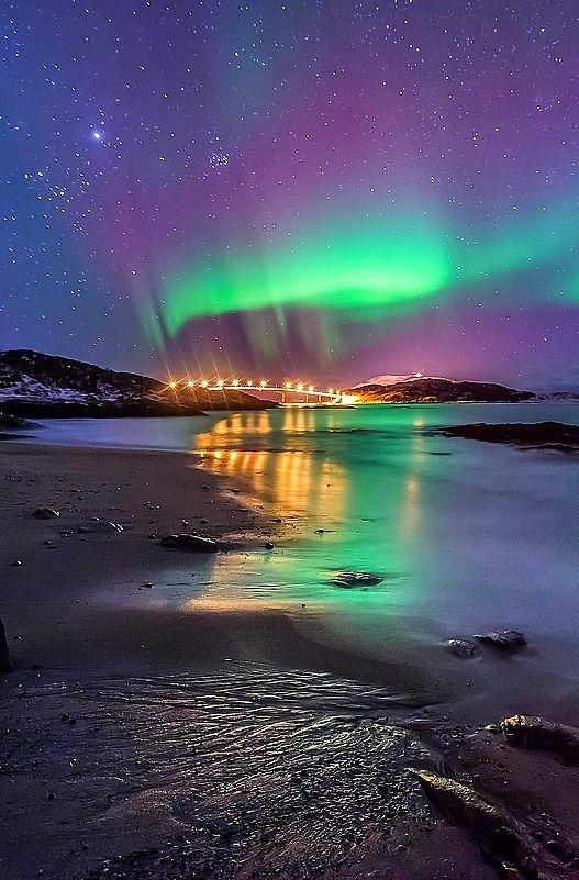 aurora borealis, Sommaroy, Norway, by Joris Kiredjian, on 500px. (Trimming)