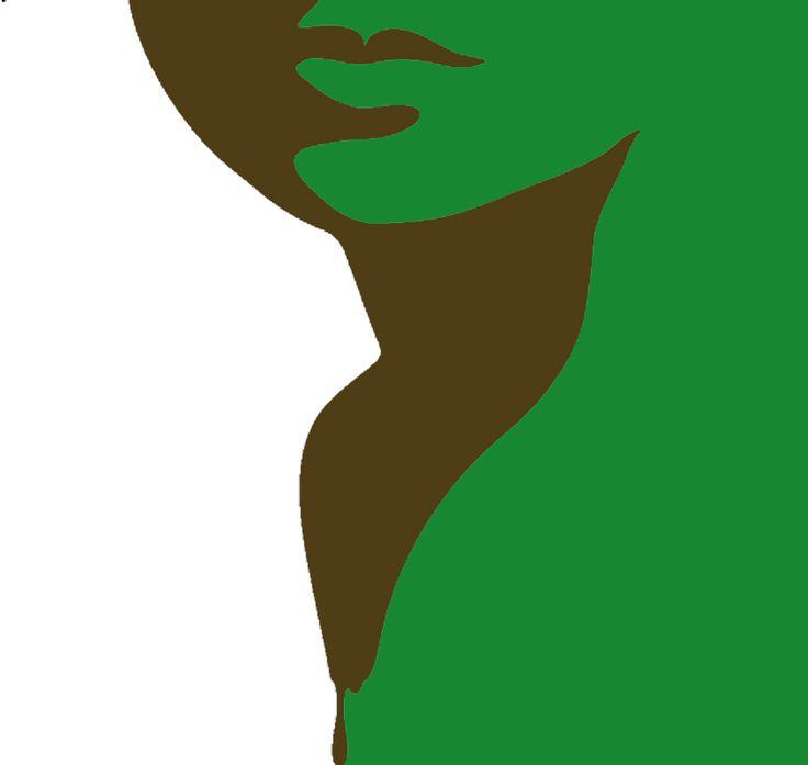 переход зеленое белое коричневое трафарет женское лицо силуэт трафарет