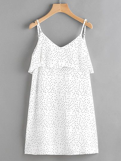 Textured Dots Open V Back Layered Cami Dress