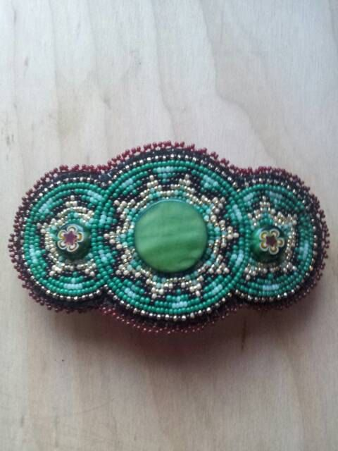 Beaded Hair Barrette handmade and unique by BakedAlaskanDesigns