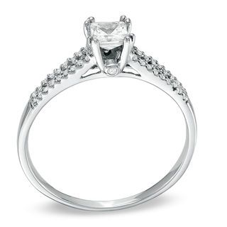 1/3 CT. T.W. Princess-Cut Diamond Split Shank Engagement Ring in 10K White Gold | Princess | Wedding | Zales