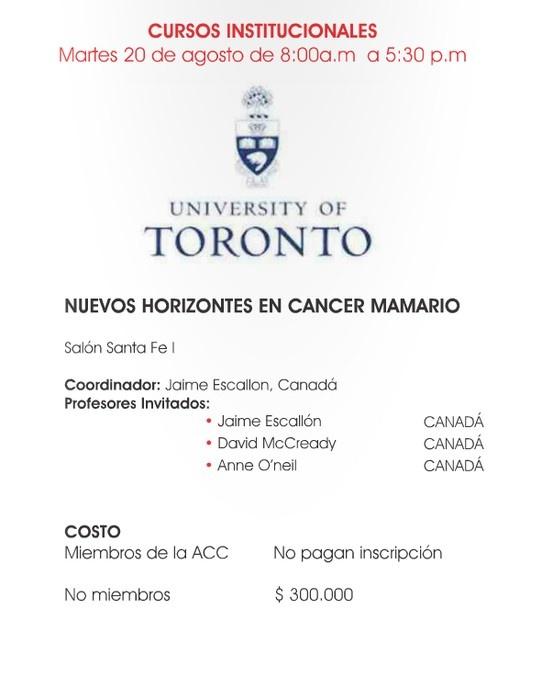 Nuevos Horizontes en el Cáncer Mamario - Dr. Jaime Escallon - Universidad de Toronto. Asociación Colombiana de Cirugía