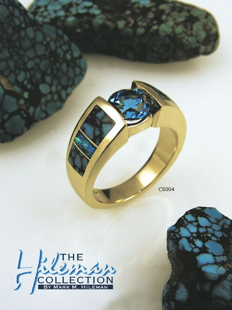 CS004 Blue topaz, spiderweb turquoise and Australian opal ring by Australian opal jewelry, via Flickr