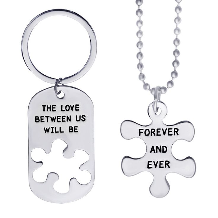 "2pcs High Quality Fashion Simple Style ""The Love Between Us"" Letter Carving Couple Necklaces+Keychain Valentine's Day Gift"