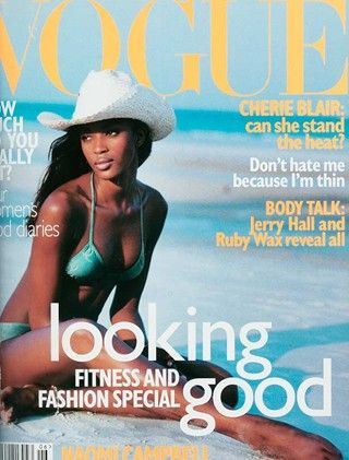 """June 1996        Editor Alexandra Shulman      Cover Robert Erdmann      Model Naomi Campbell    """"Cherie Blaire is a successful barrister, an Islington mother and a supportive wife. Her husband looks set to become the next Prime Minister. Can she survive it?"""" asks Vogue. Plus, Jerry Hall poses for David Bailey for her first ever nude shot."""""""