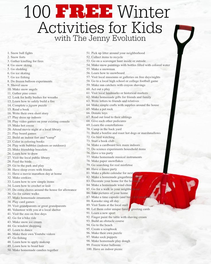 100 Free Winter Actvities for Kids Printable | Between holiday breaks and weekends, you'll be scrambling to find fun things to keep your kids occupied in colder months. These ideas are free (or mostly free using items you have around the house) and great for kids of all ages to enjoy!