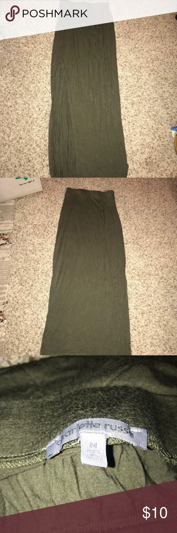 High slit olive maxi skirt Size m maxi skirt. Perfect condition. Gently worn. Charlotte Russe Skirts Maxi