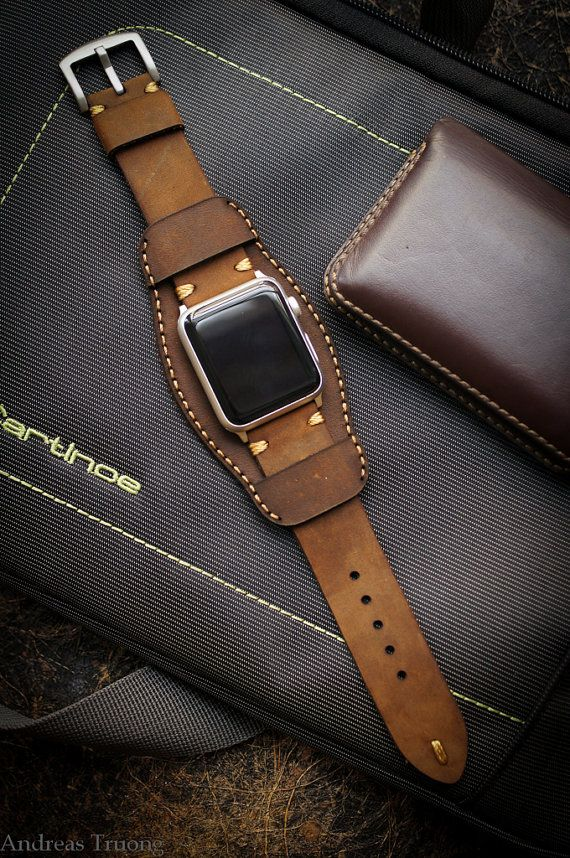 Handmade Leather Cuff Band For Apple Watch By