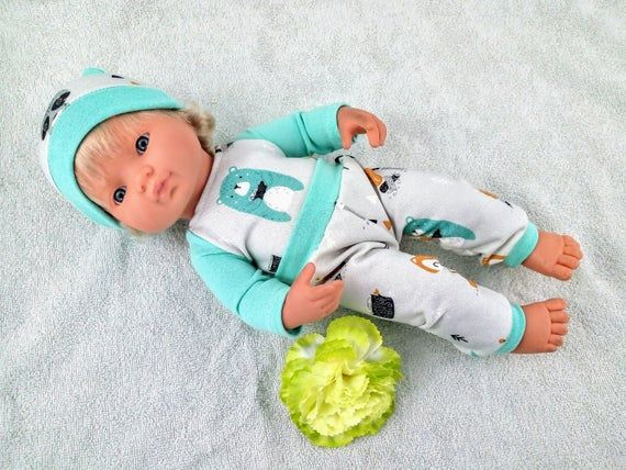Forest Animals Mixed With Mint Pants Shirt And Hat 15 16 17 Etsy Mint Pants Forest Animals New Dolls