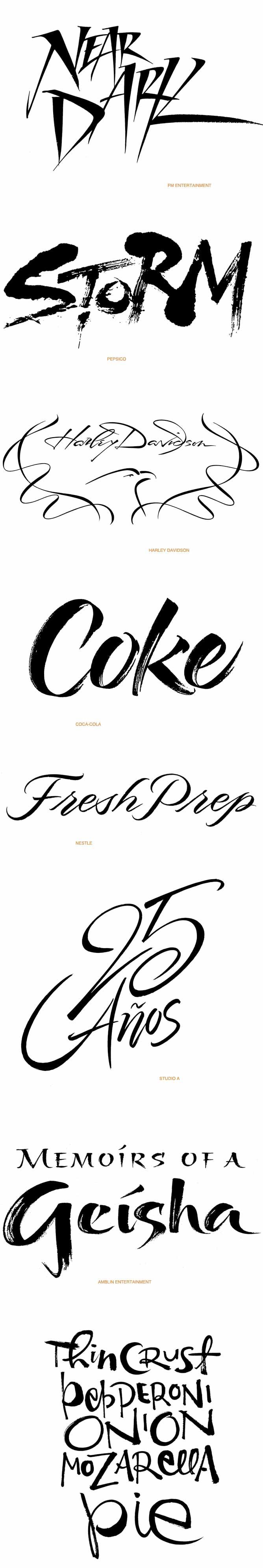 Contemporary Script Lettering Portfolio One Lettering Brush Designwww.iskradesign.com/ www.behance.net/... IMPORTANT!!! These are unique examples of custom lettering done by IskraDesign for her clients. They are NOT free clipart and may not be used as such