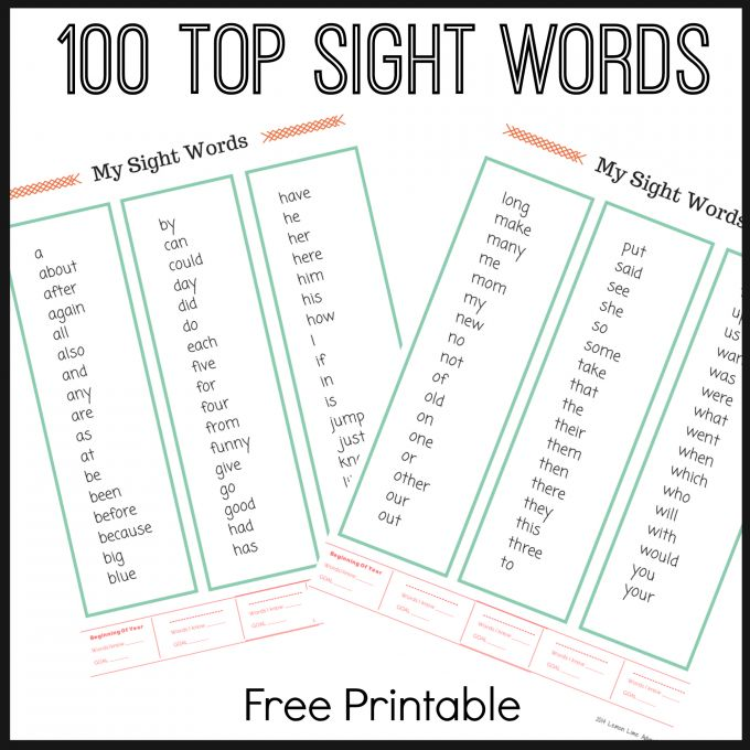 TOP Sight Word Lists FREE PRINTABLES