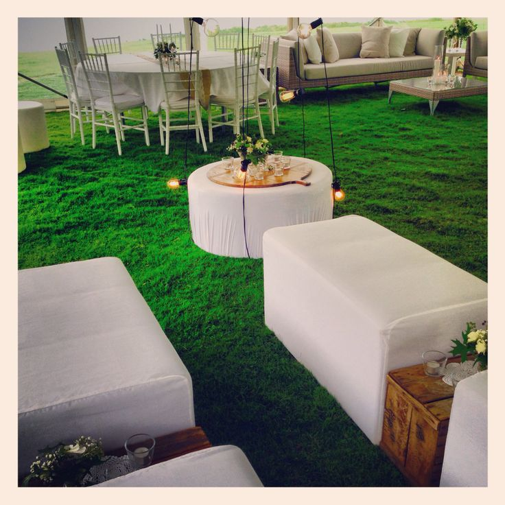 Outdoor lounges, ottomans, Tiffany chairs and Marquee by Albany Event Hire www.albanyeventhire.com.au