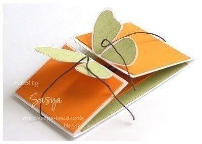"""Otra divertida y elegante forma de realizar esta postal con alas """"Cierre"""" de mariposa para engalardonar con bello destaque a alguien que qui..."""
