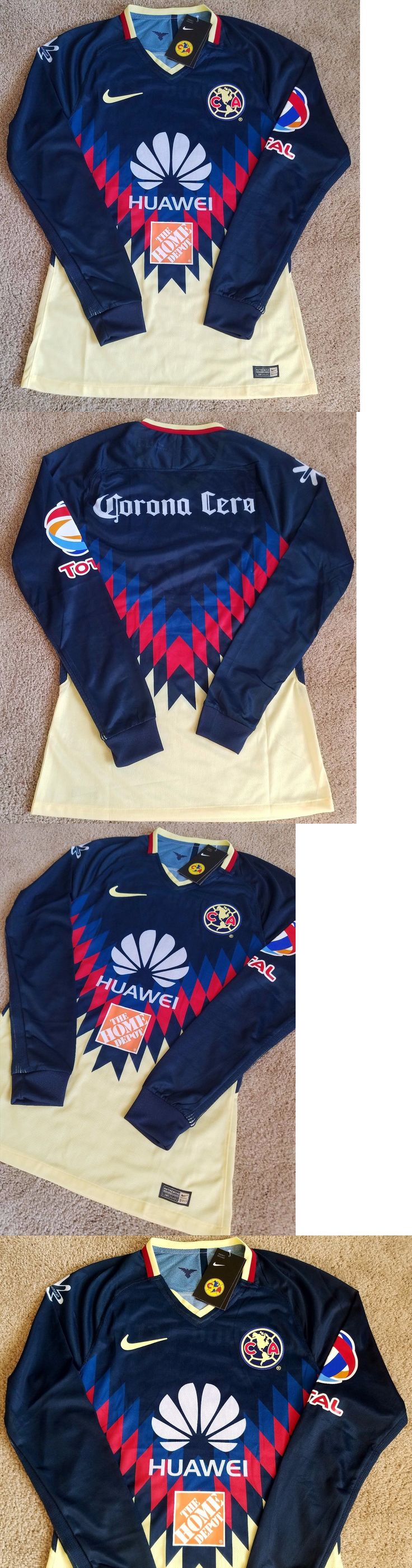 Men 123490: America Aguilas Futbol Long Sleeve Soccer Jersey Player Version Size M Fitted -> BUY IT NOW ONLY: $54.99 on eBay!