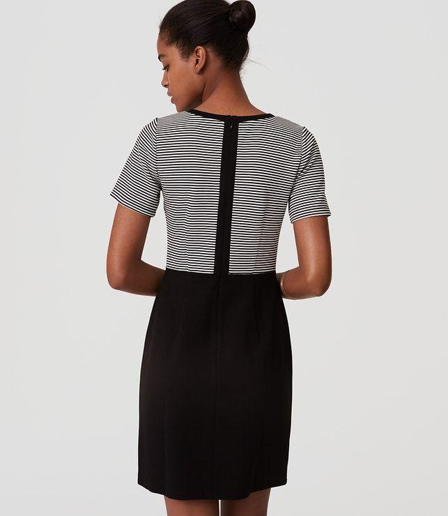 LOFT Stripe Top Sheath Dress with contrast back zipper
