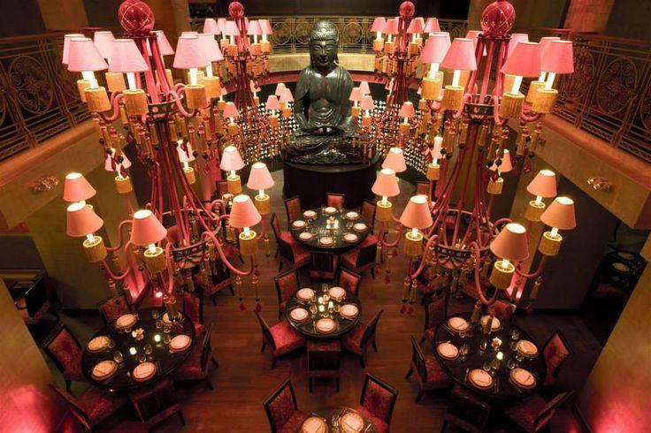 Buddha Bar Hotel Prague, Czech Republic. #restaurant #lighting #interior #design #hospitality #red #ambiance #chandeliers