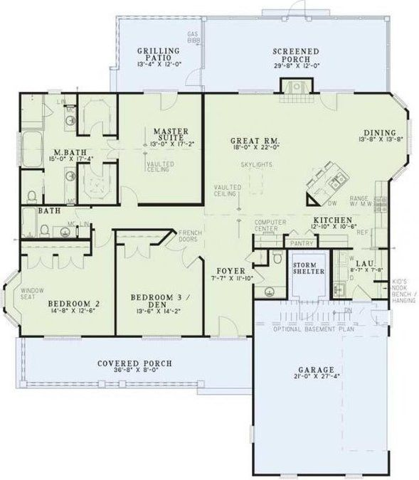 3 Bedroom, 2 Bath Southern House Plan Image